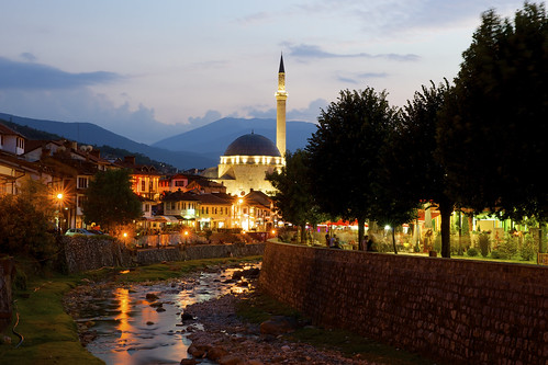 mariusz kluzniak europe balkans kosovo prizren evening night lights river riverbank mosque architecture oldtown picturesque burst