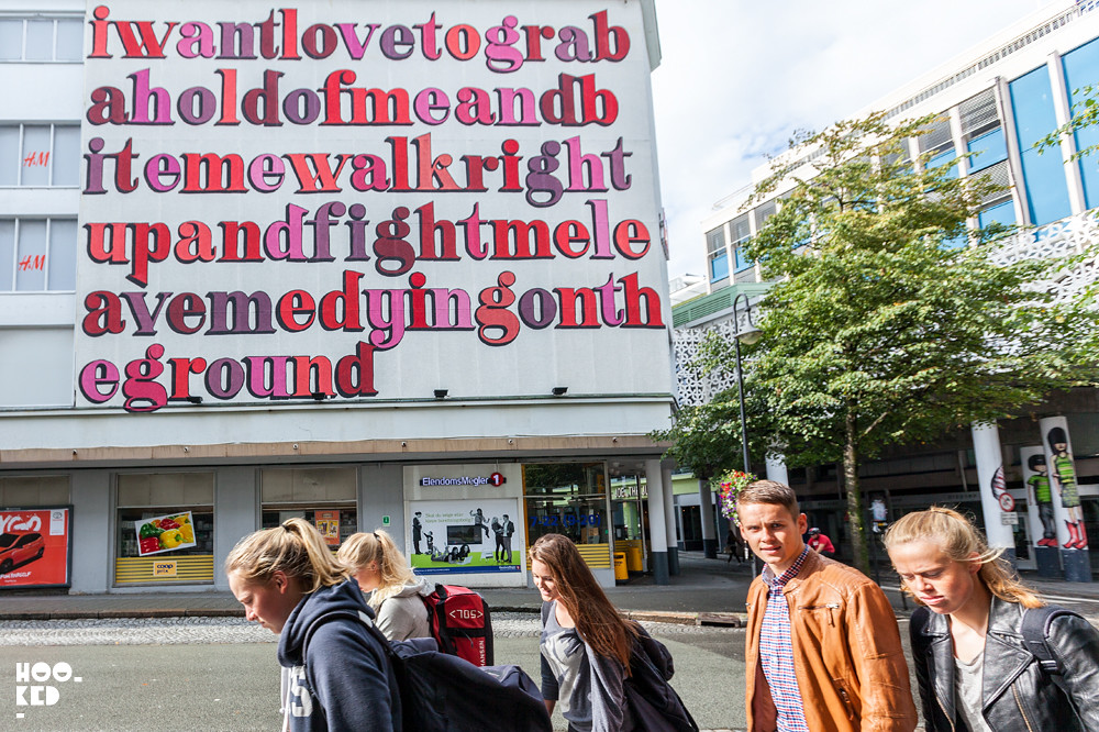 Ben Eine Typographic Street Art Mural in Stavanger, Norway. Photo ©Mark Rigney / Hookedblog