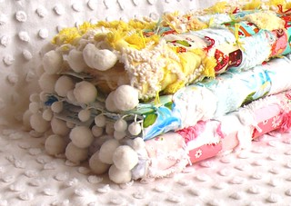 Vintage Chenille & Japanese Fabric Patchwork Doll Quilts w/ Pom Poms