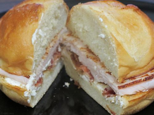 Turkey, bacon, and cream cheese sandwich by Coyoty