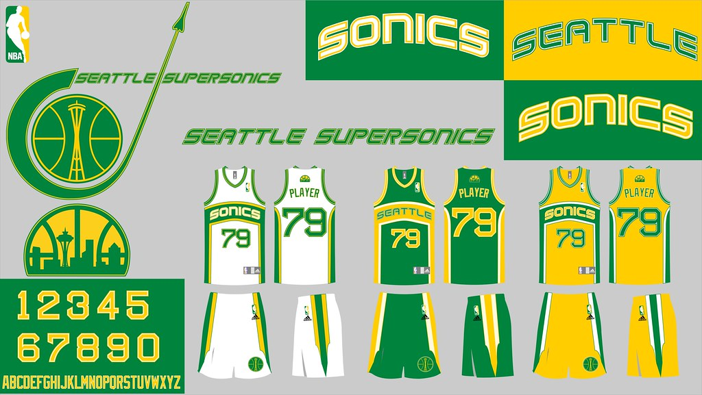 Seattle Supersonics  Uniforms and Logo Sheet  865333698560