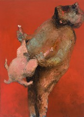 <strong>NIYAZ NAJAFOV | DANCING ON BONES - </strong> Chicken Love<br />Oil on canvas, 100 x 75 cm, 2012