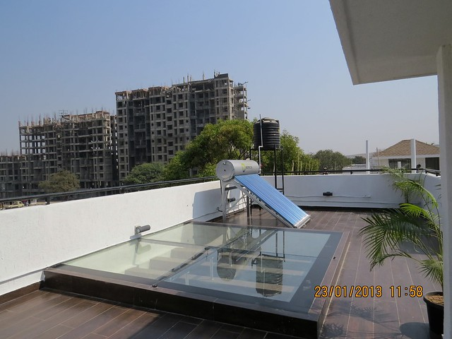 Toughened Glass over the Courtyard on the Top Terrace - 3 BHK Bungalows at Green City Handewadi Road Hadapsar Pune 411028