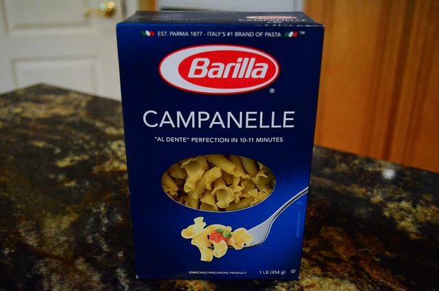 A box of Campanelle noodles.