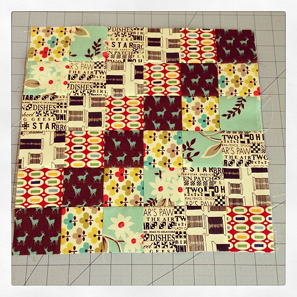 I think this is my favorite block so far. Is anyone else using strips long enough to make two blocks from each strip set? #scrappytripalong
