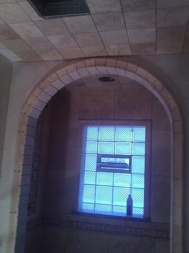 Travertine tile arch