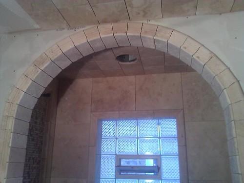 Travertine tile arches