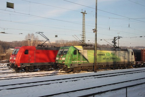 Pair of Bombardier TRAXX electric locomotives on freight trains