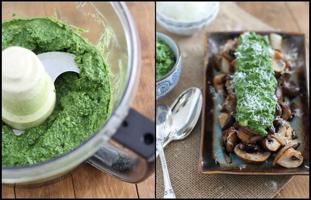 caramelized mushrooms with pesto guacamole made with spinach and kale