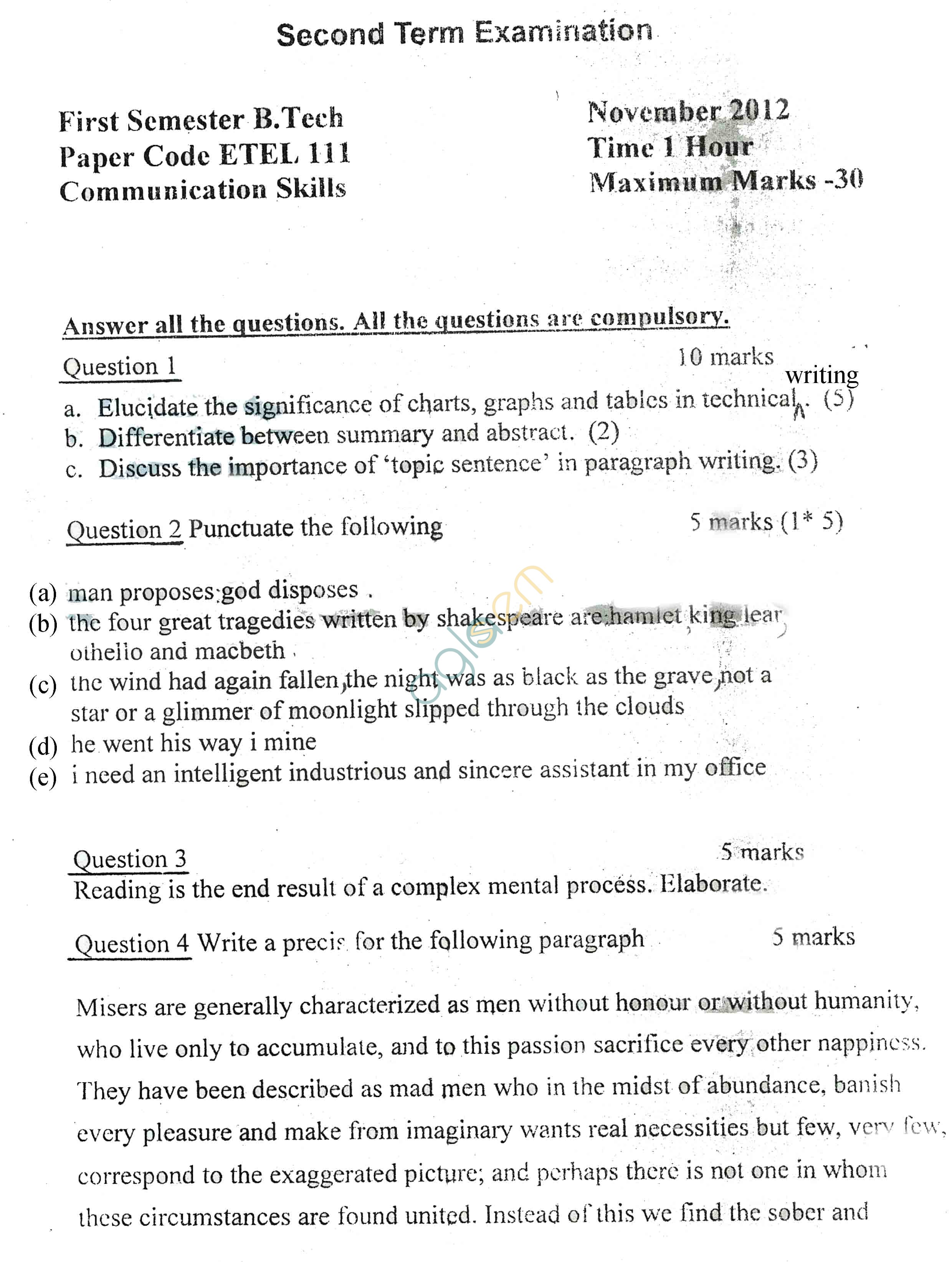 GGSIPU: Question Papers First Semester – Second Term 2012 –  ETEL-111
