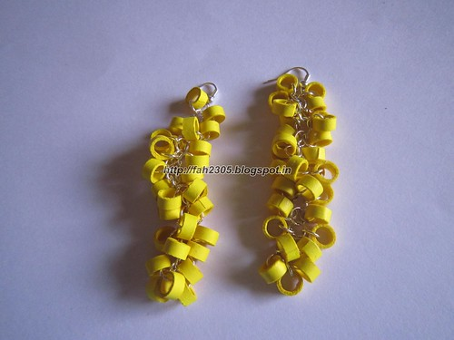 Handmade Jewelry - Paper Quilling Earrings (Round Hanging) (1) by fah2305