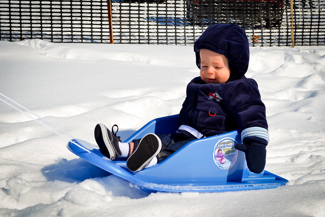 evan on sled