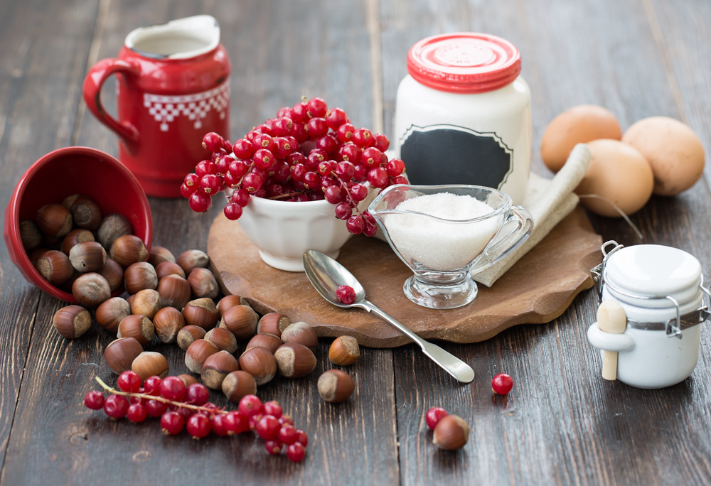 Ingredients for clafoutis with red currant