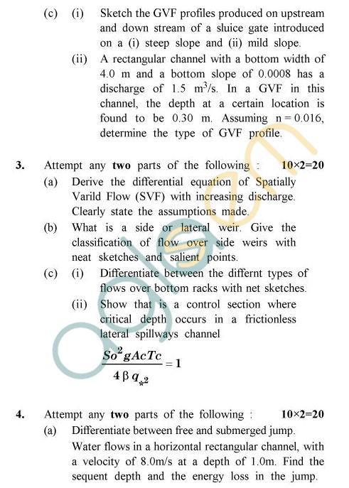 UPTU B.Tech Question Papers -CE-044 - Open Channel Flow