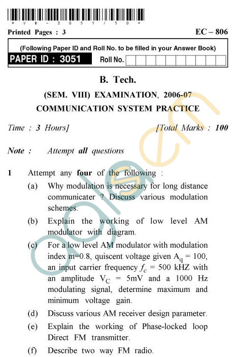 UPTU B.Tech Question Papers - EC-806 - Communication System Practices