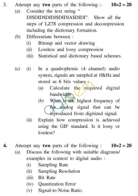 UPTU B.Tech Question Papers - CS-044-Multimedia Systems