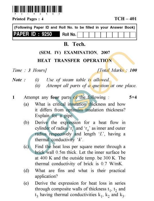 UPTU: B.Tech Question Papers -TCH-401 - Heat Transfer Operations
