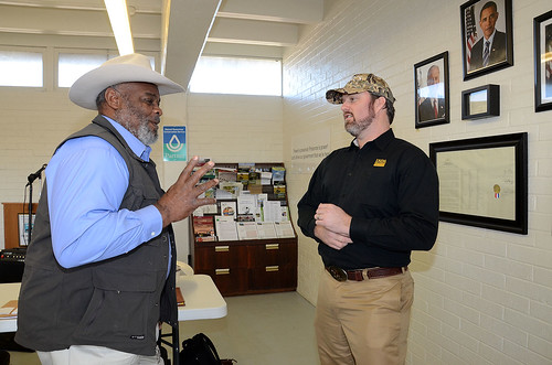 Wade Ross, state director, Texas Small Farmers and Ranchers Community Based Organization and James Gore, Natural Resources Conservation Service Assistant Chief, visited recently at the CBO's state headquarters in Navasota, Tex.