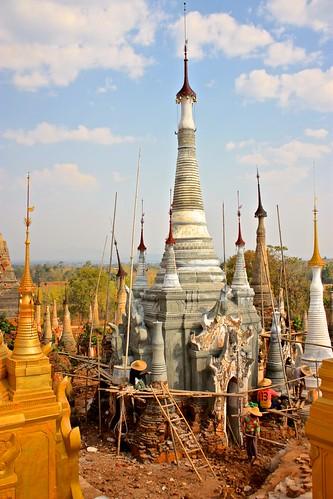 restoration of an ancient stupa