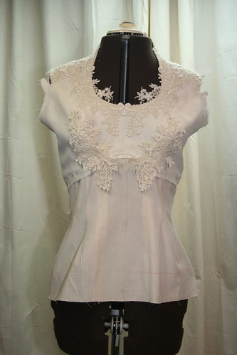 March 2013 vintage wedding gown -bodice with muslin torso front