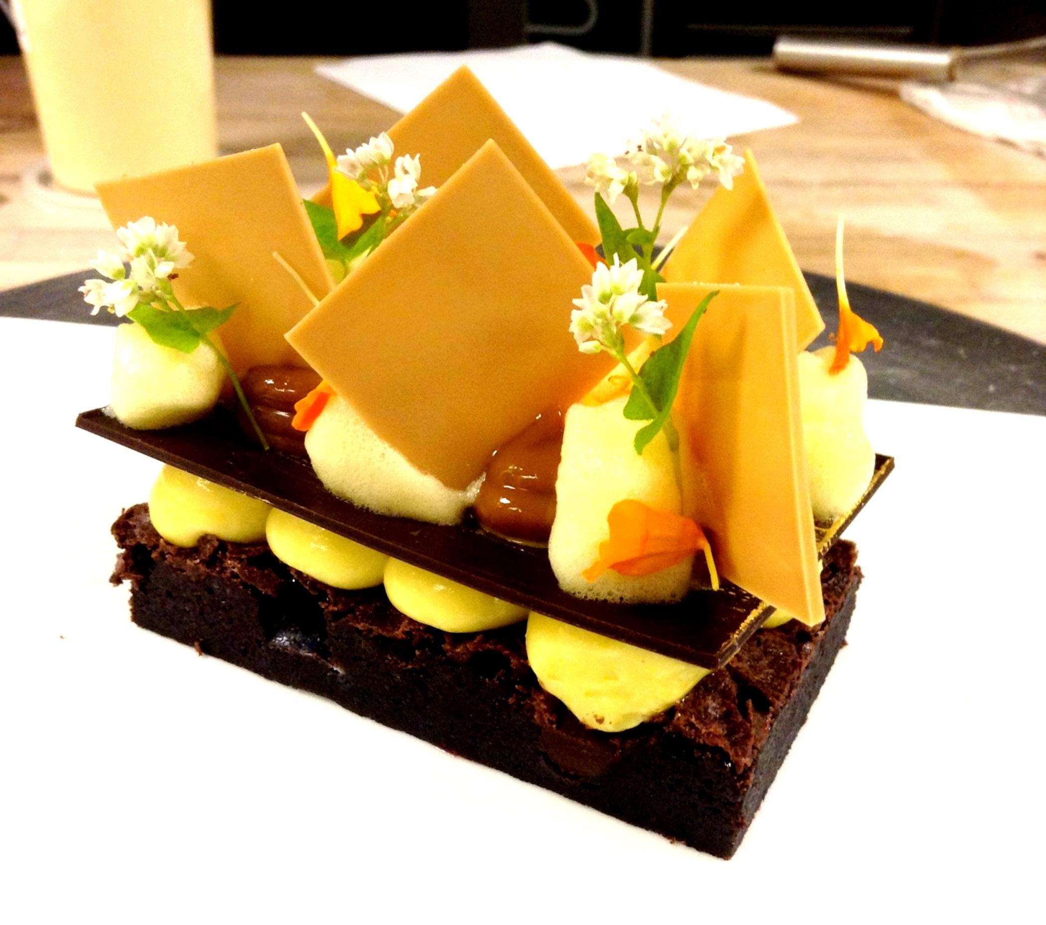 FLOURLESS CHOCOLATE CAKE, PASSION FRUIT CREMEUX, DULCE DE LECHE ...