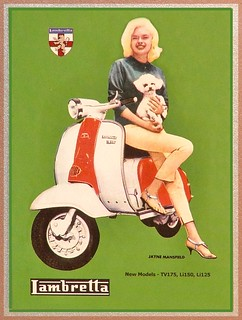 Jayne Mansfield and Another Blonde on a Scooter