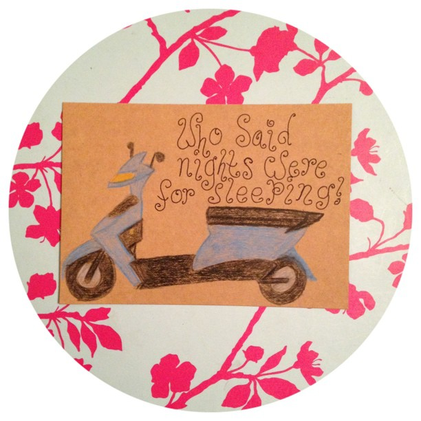 Day 12: what are you listening to! Not by choose I can hear a motorbike or quad bike but both looked impossible to draw so choose a moped! Well the proof is in the pudding, I can't draw that either!