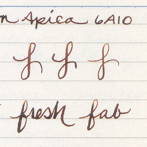 Noodler's Ahab Pearl with Kiowa Pecan on Apica - closeup view