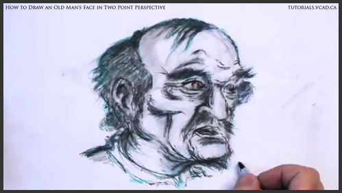 learn how to draw an old man's face in two point perspective 044