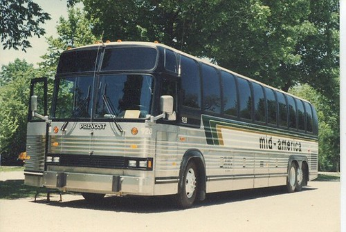 A Mid America motorcoach bus.  Springfield Illinois.  Early June 1984. by Eddie from Chicago