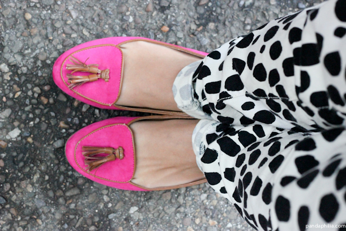 hot pink tassel loafers