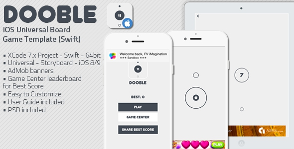 DOOBLE – iOS Universal Game Board Template (Swift)