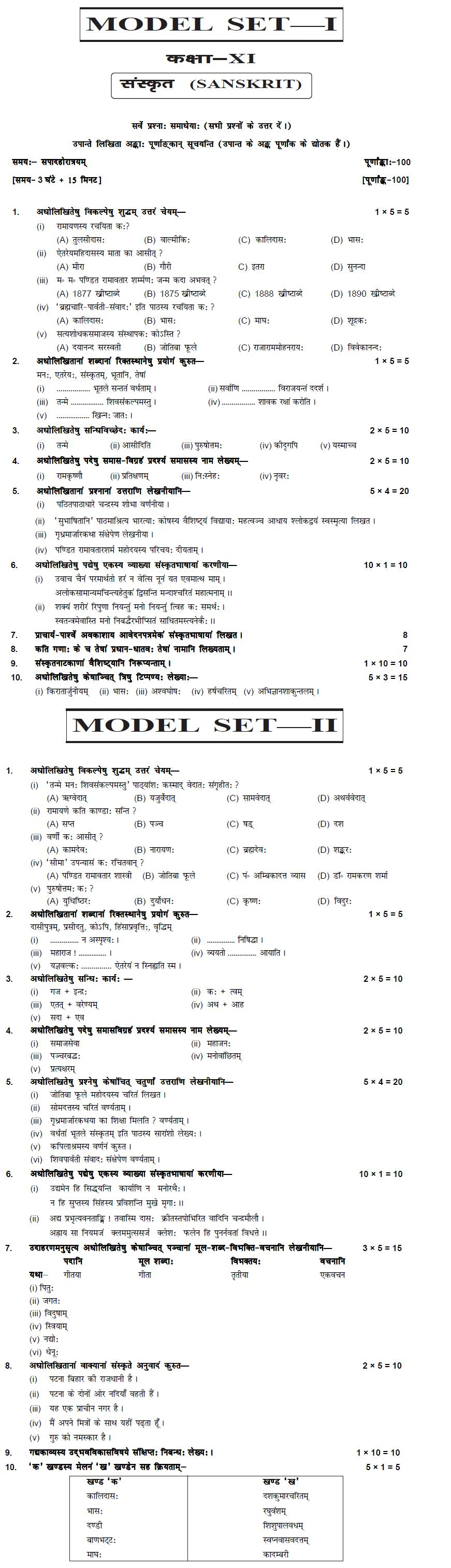 Bihar Board Class XI Humanities Model Question Papers - Sanskrit