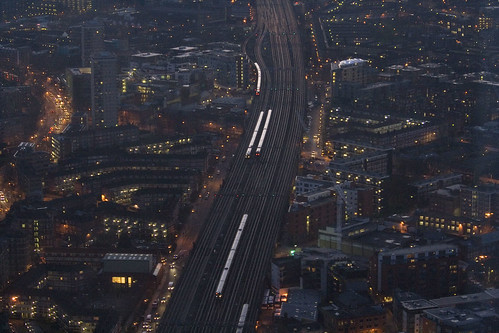 Early morning commuters arriving at London Bridge