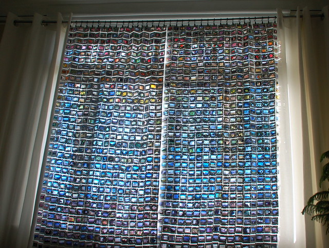 Upcycled 35mm film slide curtains