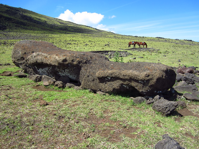 Fallen Moai on the North Coast of Rapa Nui