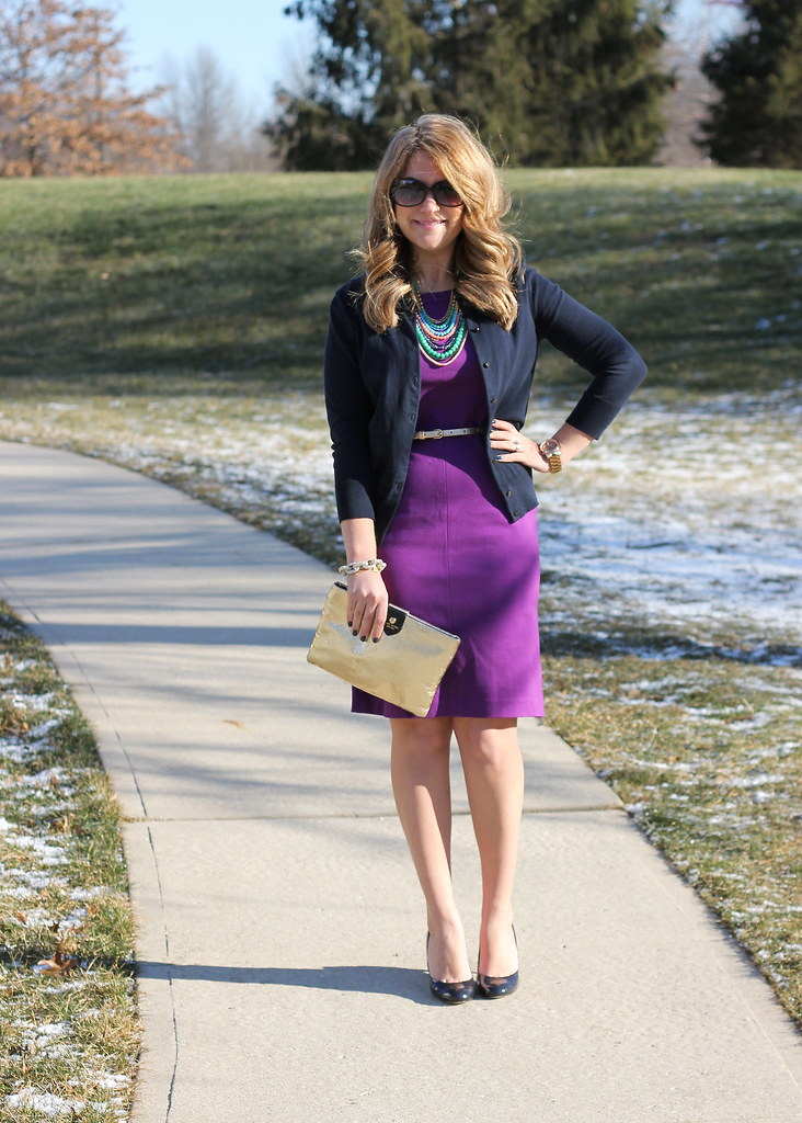 purple dress navy cardigan work outfit