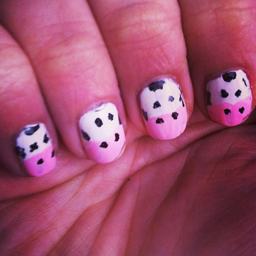 My cow nails! Moooo! #nailart #nails #cow #moo by fairymoore