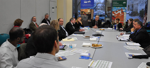 Under Secretary Dallas Tonsager, in Oregon, (center of table) meets with business, technology, education, agriculture, finance and state government representatives to discuss job creation.