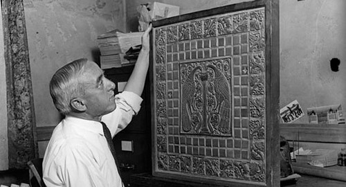 Batchelder Inspects His Tile