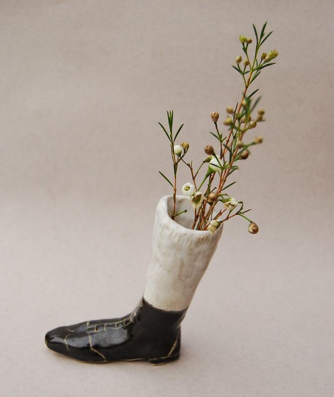 ceramic boot vase