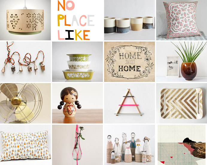 Etsy treasury 'no place like home sweet home' curated by Emma Lamb