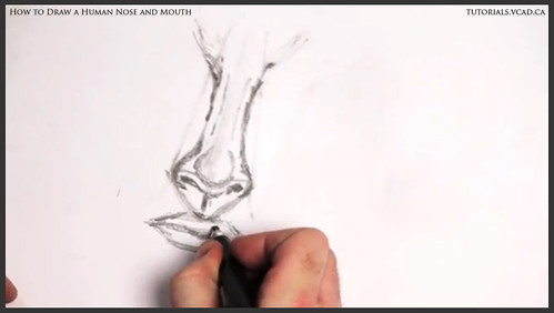 learn how to draw a human nose and mouth 008