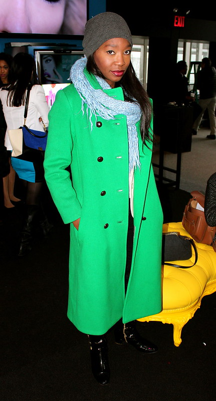 nyfw, neon green trench coat