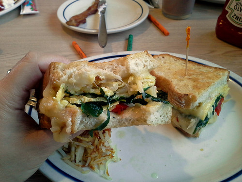 Spinach, Roasted Pepper, and Cheese #GriddleMelts from IHOP