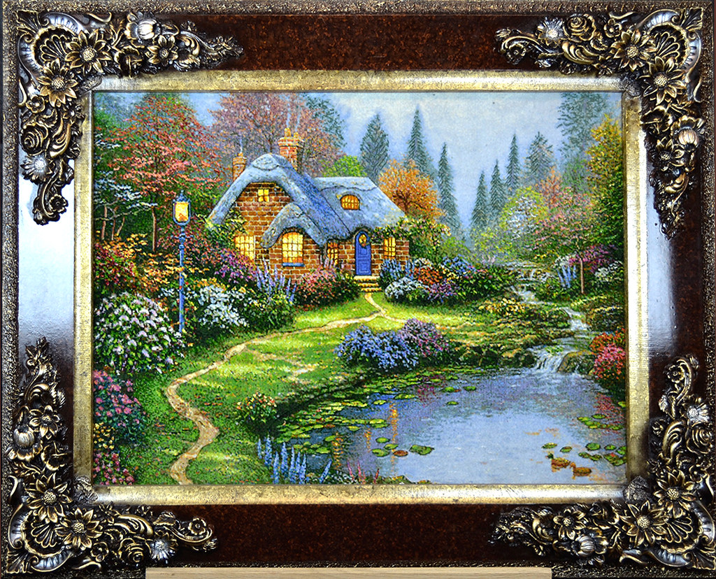 Tableau-Hand-Made-Persian-Thomas-Kinkade-Cottage-Forest