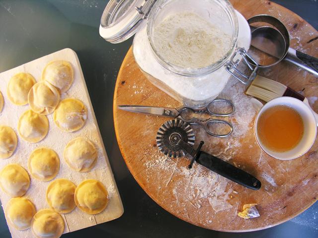 Raviolis de requeijão e abóbora