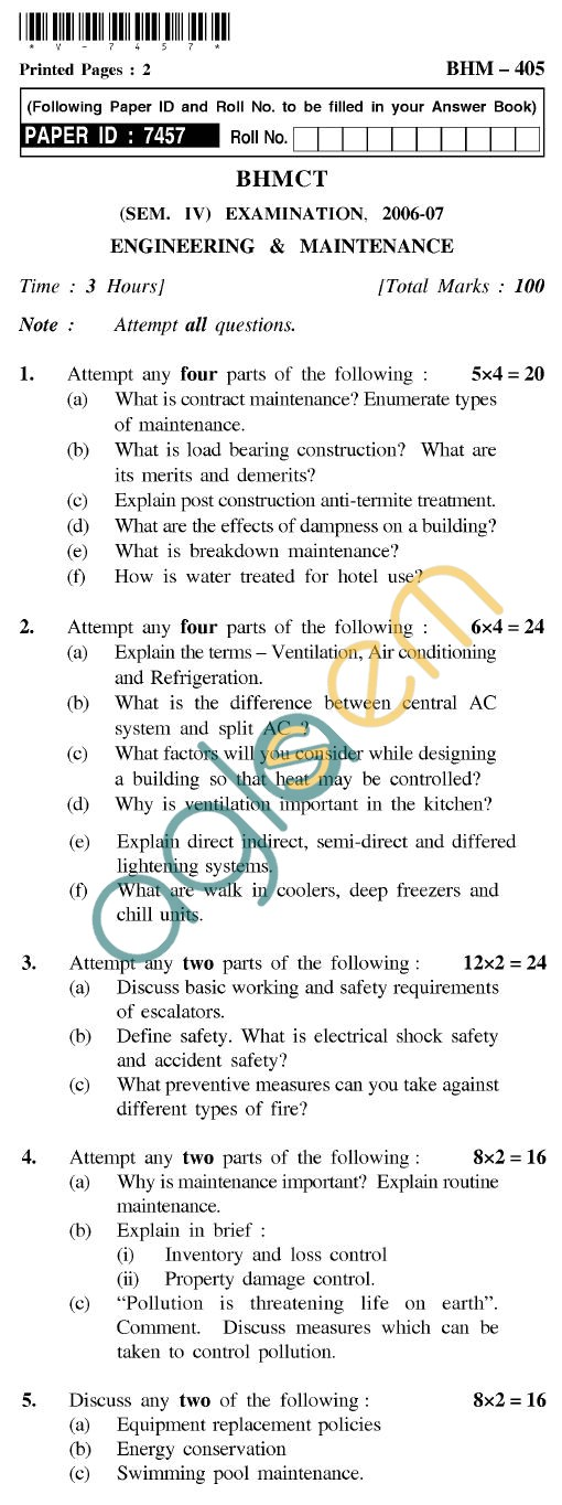 UPTU BHMCT Question Papers -BHM-405-Engineering & Maintenance