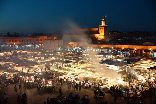 market smoke maroc marrakech crowed maroco