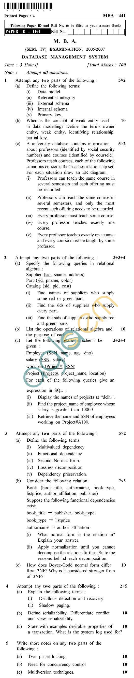 UPTU  MBA Question Papers - MBA-441-Database Management System